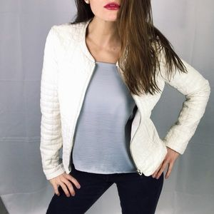 XXI Forever 21 White Faux Leather Quilt Jacket S